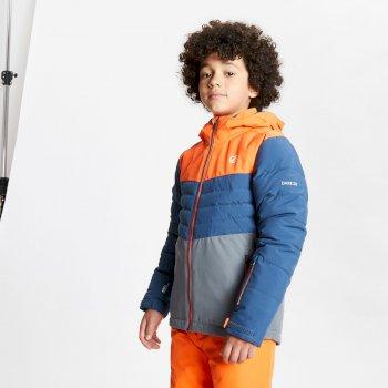 Dare 2b - Kids' Freeze Up Waterproof Insulated Hooded Ski Jacket Blaze Orange Dark Denim