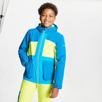Dziecięca kurtka narciarska Dare2B Esteem niebieska - limonkowa