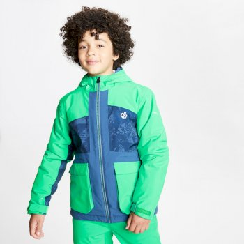 Dare 2b - Kids' Esteem Waterproof Insulated Hooded Ski Jacket Vivid Green Dark Denim