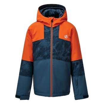 Dare 2b - Kids' Cavalier Waterproof Insulated Hooded Ski Jacket Blaze Orange Dark Denim