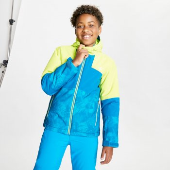 Dare 2b - Kids' Cavalier Waterproof Insulated Hooded Ski Jacket Lime Punch Petrol Blue