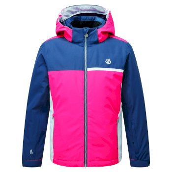 Dare 2b - Kids' Depend Waterproof Insulated Hooded Ski Jacket Dark Denim Neon Pink