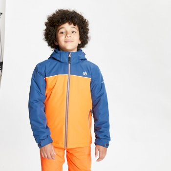 Dare 2b - Kids' Impose Waterproof Insulated Hooded Ski Jacket Blaze Orange Dark Denim