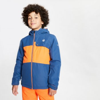 Dare 2b - Kids' Enigmatic Waterproof Insulated Hooded Ski Jacket Dark Denim Blaze Orange
