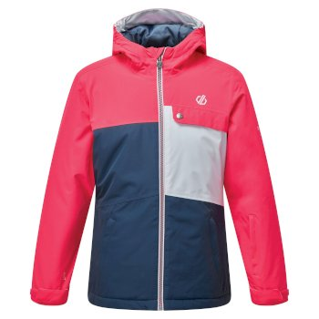 Dare 2b - Kids' Enigmatic Waterproof Insulated Hooded Ski Jacket Neon Pink Dark Denim