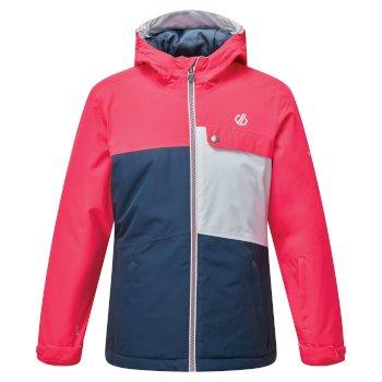 Dare 2b - Kids' Enigmatic Waterproof Insulated Hooded Ski Jacket Neon Pink Dark Denim