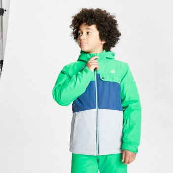 Dare 2b - Kids' Enigmatic Waterproof Insulated Hooded Ski Jacket Vivid Green Space Grey
