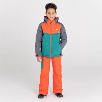 Kids' Cheerful Waterproof Insulated Ski Jacket Dark Storm Amber Glow Alpine Forest