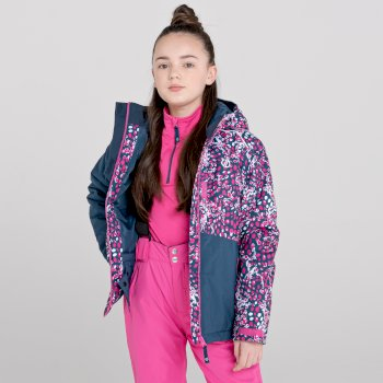 Kids' Glee Waterproof Ski Jacket Dark Denim Rasberry Rose
