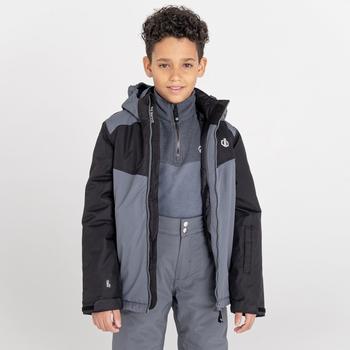 Kids' Impose II Waterproof Ski Jacket Black Dark Storm Grey
