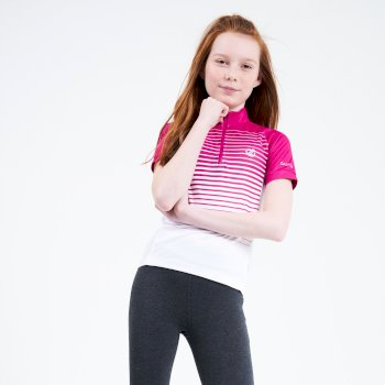Dare 2b - Kids' Go Faster Half Zip Cycle Jersey Active Pink White