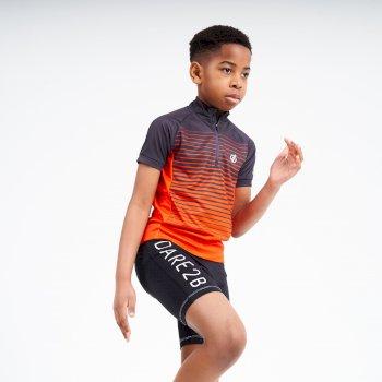 Dare 2b - Kids' Go Faster Half Zip Cycle Jersey Ebony Grey Trail Blaze Red
