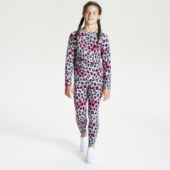 Dare 2b - Kids' Partition Base Layer Set White Leopard Print