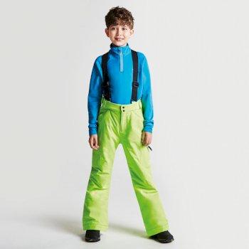 Kids Spur On Ski Pants Electric Lime
