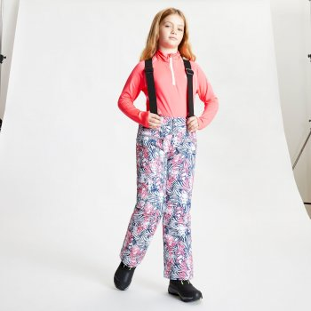 Dare 2b - Kids' Timeout II Waterproof Insulated Ski Pants Neon Pink Animal Fusion Print