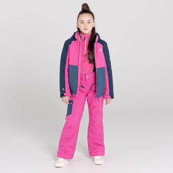 Dare 2b - Kids' Timeout II Waterproof Insulated Ski Pants Raspberry Rose Snow Leopard Print Dark Denim