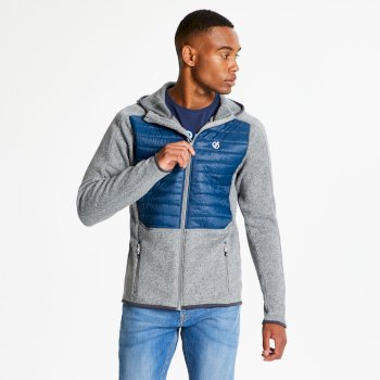 Dare 2b - Men's Galore Hybrid Full Zip Hooded Midlayer Ash Grey Admiral Blue