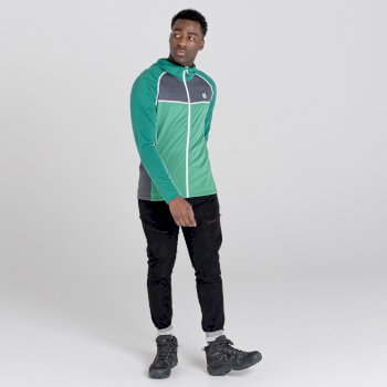 Dare 2b - Men's Perennial Full Zip Hooded Stretch Midlayer Ultramarine Green Ebony Grey