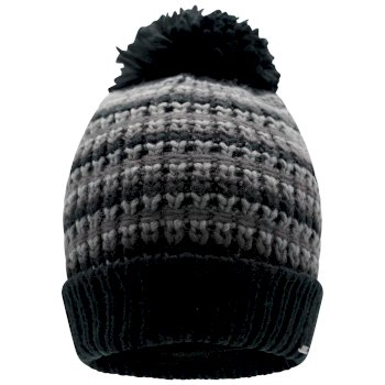 Dare 2b - Men's Mind Over II Fleece Lined Knit Bobble Beanie Black Ebony Grey
