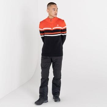 Men's Outgoing Half Zip Sweater Amber Glow Black