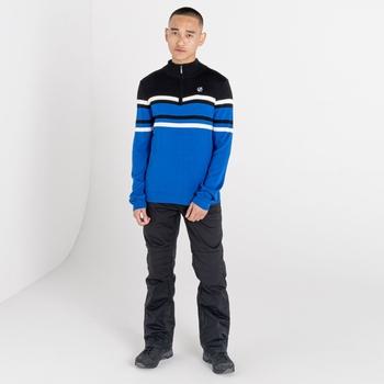 Men's Outgoing Half Zip Sweater Lapis Blue Black
