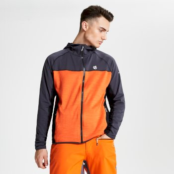 Dare 2b - Men's Ratified Lightweight Hooded Core Stretch Midlayer Ebony Clemetine Orange Black