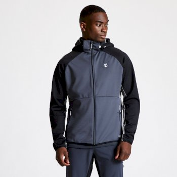 DML424_7CA: Dare 2b - Mens Endure Hooded Softshell Jacket Ebony Grey Black