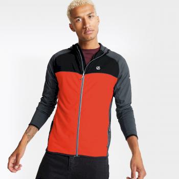Dare 2b - Men's Ratified II Full Zip Hooded Core Stretch Midlayer Trail Blaze Red Ebony Grey