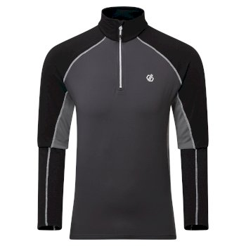 Dare 2b - Men's Interfused II Half Zip Lightweight Core Stretch Midlayer Aluminium Ebony Grey