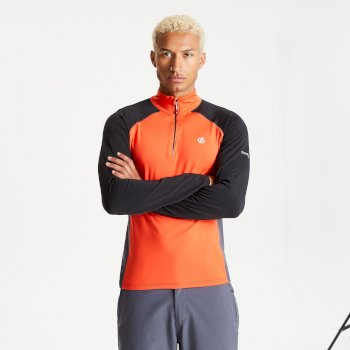 Dare 2b - Men's Interfused II Half Zip Lightweight Core Stretch Midlayer Trail Blaze Black
