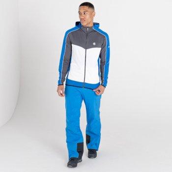 Men's Revived Hooded Core Stretch Midlayer Ebony Grey Lapis Blue White