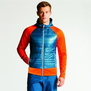 Męska kurtka hybrydowa Dare2b Inlay Niebieska z pomarańczowymi rękawami