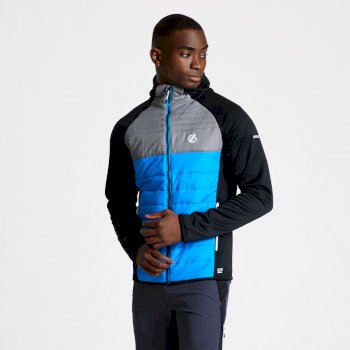 DMN360_K1V: Dare 2b - Mens Coordinate Wool Hybrid Hooded Baffled Jacket Athletic Blue Black