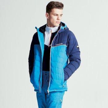 Męska kurtka narciarska Dare2b Slalom Niebieska z granatowymi rękawami