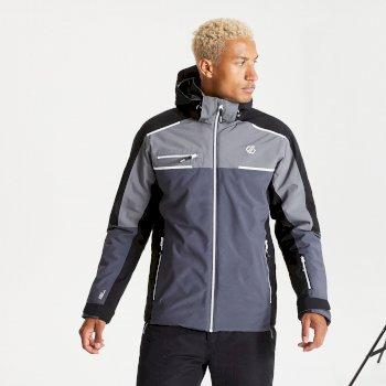 Dare 2b - Men's Intermit II Waterproof Insulated Hooded Ski Jacket Ebony Grey Black