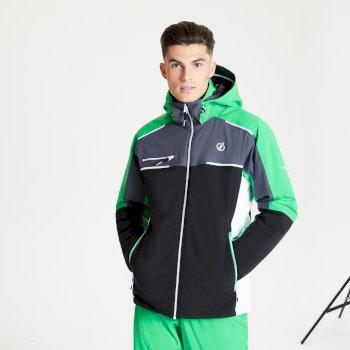 Dare 2b - Men's Intermit II Waterproof Insulated Hooded Ski Jacket Black Vivid Green