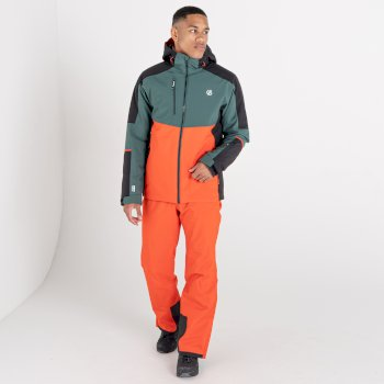 Męska kurtka narciarska Dare2B Intermit III zielona-pomarańczowa