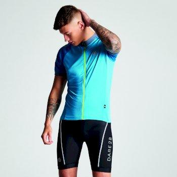 Men's Accurate Full Zip Multi Pocket Cycling Jersey Atlantic Blue Petrol Blue