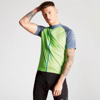 Men's Accurate Full Zip Multi Pocket Cycling Jersey Jasmine Green Meteor Grey