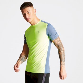 Men's Underlie Active T-Shirt Fluro Yellow Meteor Grey