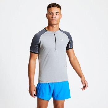 Dare 2b - Men's Aces Half Zip Lightweight Cycle Jersey Ash Grey Ebony