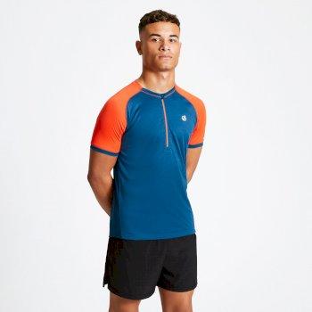 Dare 2b - Men's Aces Half Zip Lightweight Cycle Jersey Majolica Blue Trail Blaze Red