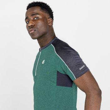 Dare 2b - Men's Aces II Half Zip lightweight Jersey   Jelly Bean Green Ebony Grey