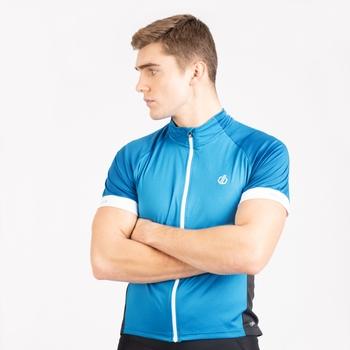 Męska koszulka rowerowa Protraction czarna - niebieska