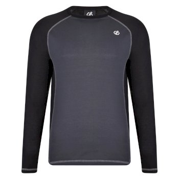 Dare 2b - Men's Exchange Long Sleeved Base Layer Top Black Ebony Grey