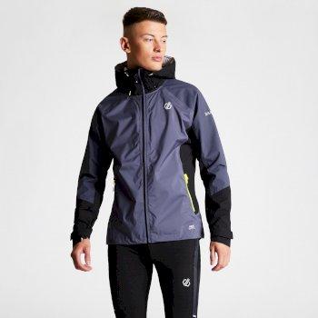 Dare 2b - Men's Aline Lightweight Hooded Waterproof Jacket Quarry Grey Black