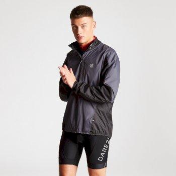 Dare 2b - Men's Mediant Waterproof Reflective Cycling Jacket Quarry Grey Black