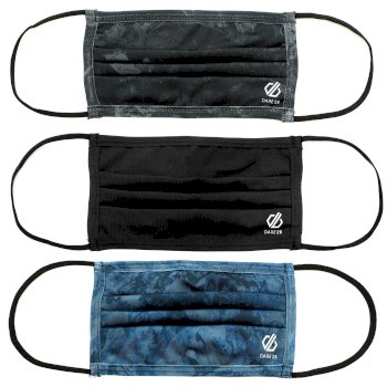 Dare 2b - Adult's Washable On The Defence Face Cover 3 Pack  Black Blue Print