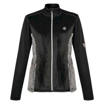 Dare 2b - Women's Impearl Full Zip Faux Fur Luxe Stretch Midlayer Black Charcoal
