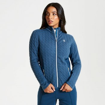 Dare 2b - Women's Sumptuous Full Zip Knitted Luxe Stretch Midlayer Blue Wing